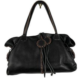 "CARLOS FALCHI ""Fatto a Mano"" Black Leather Handbag"